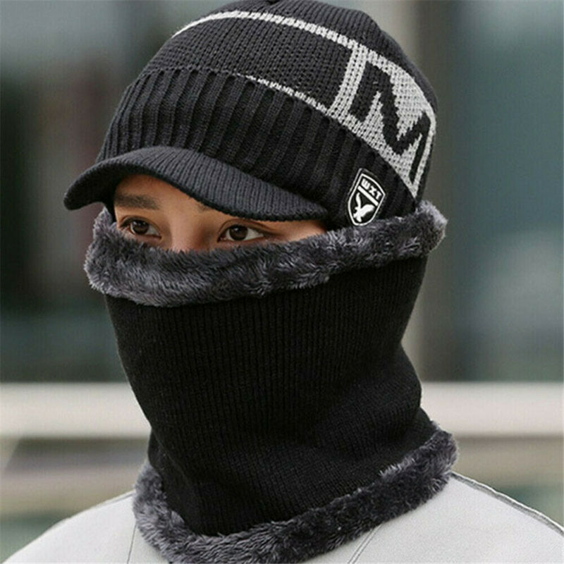 5 Colors Newest Arrival Unisex Men Women Winter Warm Hat Neck Warmer Crafts Knit Visor Beanie Fleece Lined Ear Flap Cap