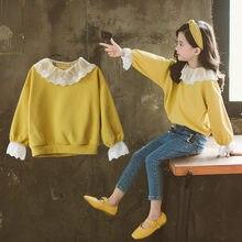 Kids Sweatshirts Lace Collar Yellow Cardigan 2019 Fashion Spring Autumn T-shirts Baby Girl Clothes Long Sleeve Coat