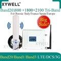 Лидер продаж! Трехдиапазонный усилитель сотовой связи Band 20)LTE 800/2100/1800 МГц  4G усилитель мобильного сигнала  WCDMA LTE GSM ретранслятор 2g 3g 4g усилите...