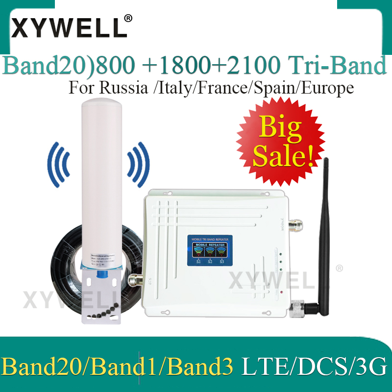Hot!! Band20)LTE 800/2100/1800 Mhz Tri-Band Cellular Amplifier 4G Mobile Signal Booster WCDMA LTE GSM Repeater 2g 3g 4g Booster