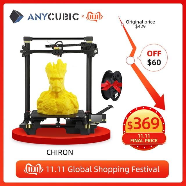 ANYCUBIC כירון 3d מדפסת ענק לבנות נפח 400x400x450mm אוטומטית פילוס כפולה Z ציר 3d מדפסת ערכת impresora 3d דרוקר