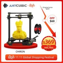 Anycúbico chiron 3d impressora enorme construir volume 400x400x450mm automático nivelamento duplo eixo z kit impressora 3d impresora 3d drucker