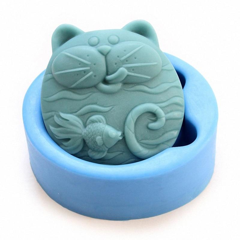 Non-Stick Silicone Mold 3D Silicone Soap Mold DIY New Cat  Fish Craft Art Silicone Soap Mold Craft Mold DIY Handmade Candle Mold