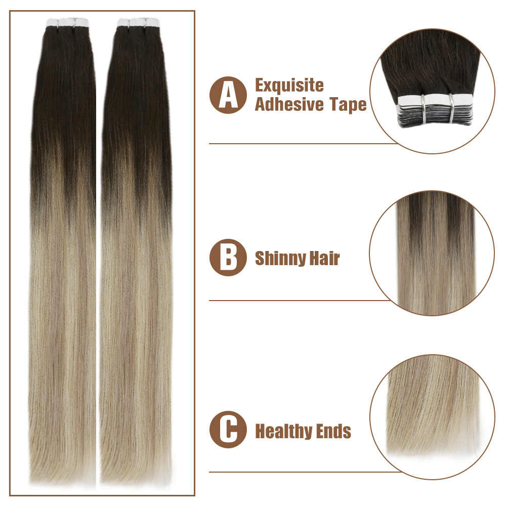 Voller Glanz Ombre Farbe 40 stücke 100g 100% Real Menschliches Haar Balayage Haar Band in Haar Extensions Blonde für Frau Maschine Made Remy