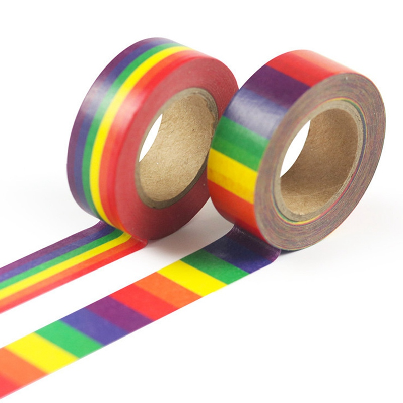 New Rainbow And Paper Tape Hand Account DIY Decorative Album Adhesive Tape Horizontal Stripes Vertical Paper And Paper Tape