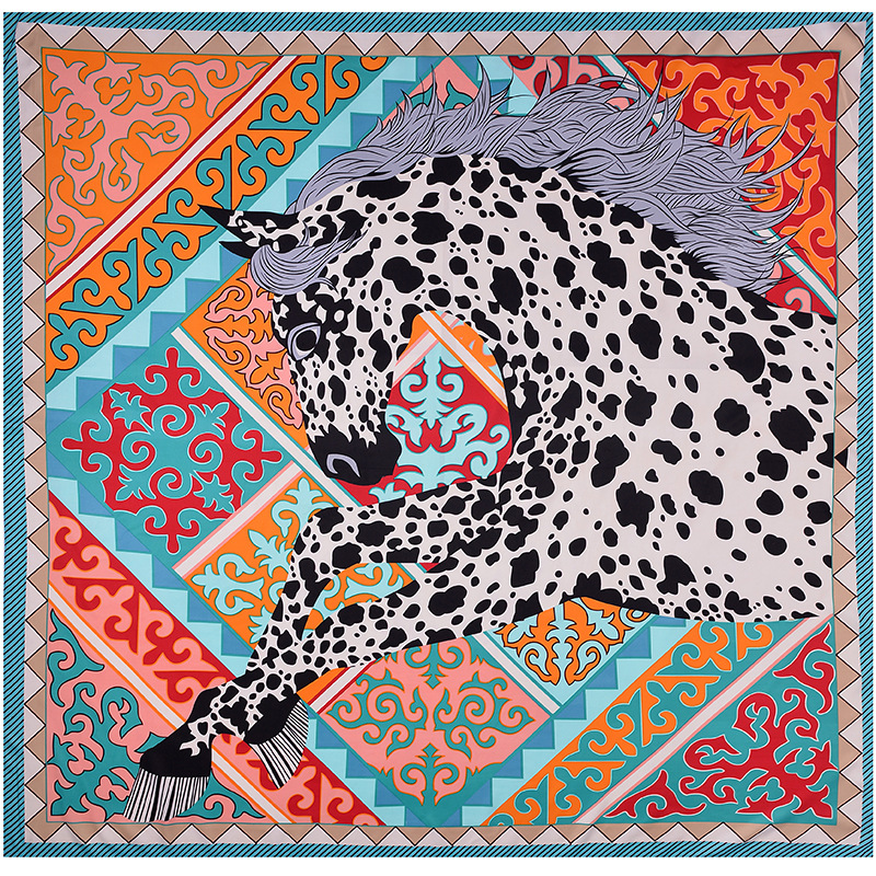 130*130cm Luxury Women Leopard Print Square Twil Silk Scarf Fashion Female Shawls And Wraps Foulard Femme Horse Print Banadana