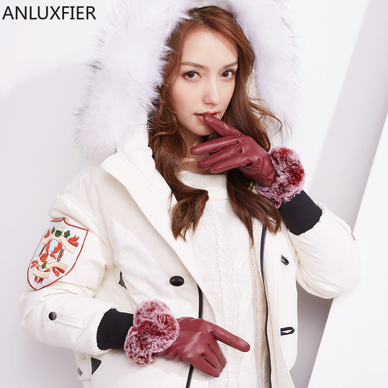 H10036 Vrouwen Lederen Handschoenen Winter Herfst Riding Touch Screen Mittens Dame Pluche Warm Koreaanse Studenten Mooie Winddicht Hand Muff