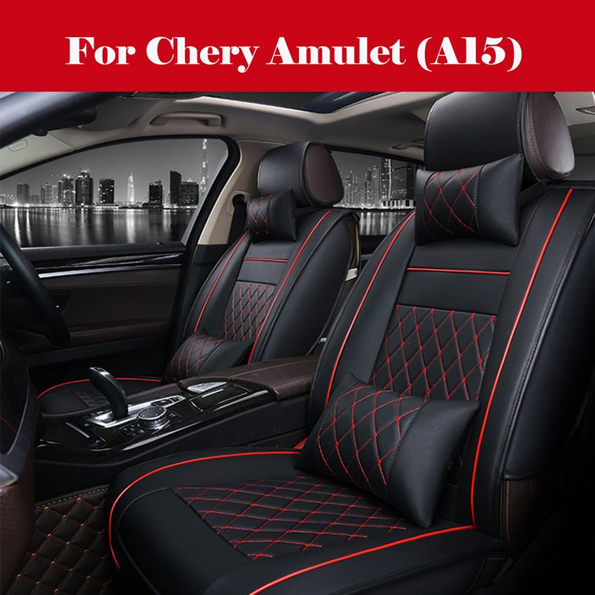 high quality Full Set Luxury Leather 5-Seats Car Seat Cover Cushions For Interior Accessories For <font><b>Chery</b></font> Amulet (<font><b>A15</b></font>) image