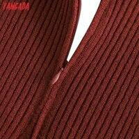 Tangada Fashion Women Solid Elegant Sweater Dress Sleeveless Zipper Ladies Warm Midi Dress QW47 3