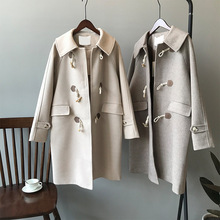 2019 winter women coat new woolen coat female Korean version of wool coat loose womens coat thick horn buckle coat cheap Polyester long Wide-waisted Casual Button Wool Blends Solid Single Breasted Regular Turn-down Collar 2305 Full Pure color