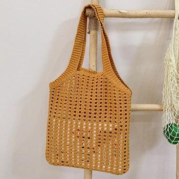 DikizFly Light Summer Bags Fashion Designer Bag Hollow Out Women Handbags Beach Purse Travel Handbag Handmade Kntting
