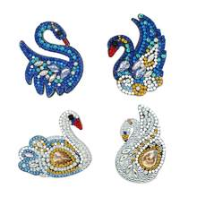 4 pcs Swan DIY Full Drill Special Shaped Diamond Painting Keychain Keyring Gift Women Bag Decoration Pendant Diamond Embroidery(China)