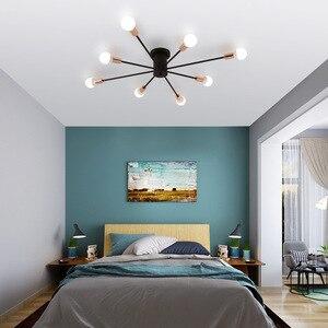 Image 3 - Retro demir avize siyah/beyaz 6/8/10 yuva aydınlatma Vintage örümcek avize Modern tavan lamba ışığı fikstür aydınlatma