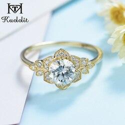 Kuololit 100% naturalny Moissanite 10K pierścionek z żółtego złota dla kobiet okrągły pasjans pierścionek zaręczynowy dla nowożeńców pierścień przyrzeczenia Fine jewelry