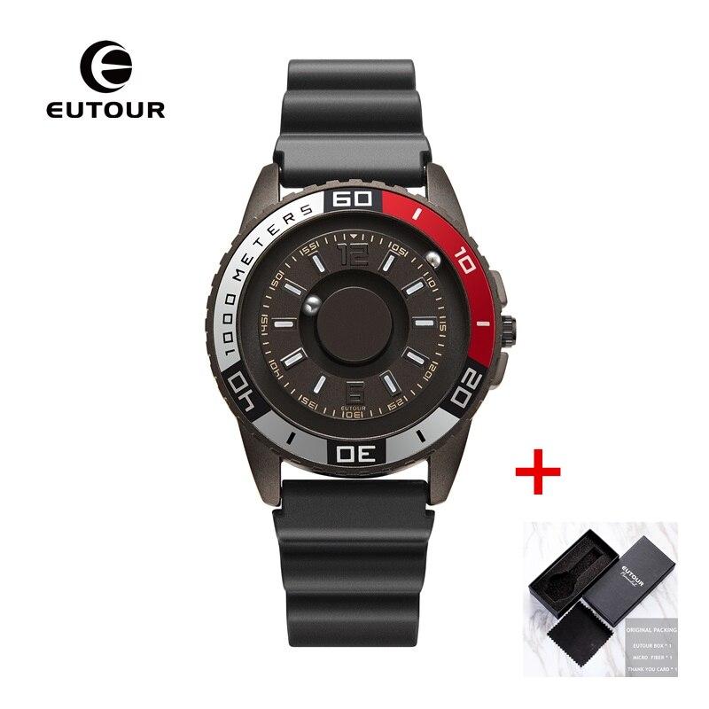 EUTOUR New innovative magnetic metal multi-function men's watch fashion sports quartz watch simple strap pilot