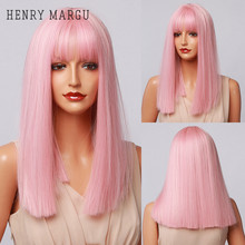 Synthetic Wigs Hair-Wig Bangs Lolita Pink Women Cosplay Henry Margu Heat-Resistant Natural
