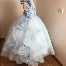Ball-Gown Pageant-Dresses Comunion Puffy Flower-Girl for Vestido Primera Embriodery Light-Blue