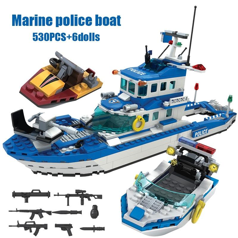 Winner SWAT City Police Station Helicopter Boat Building Blocks