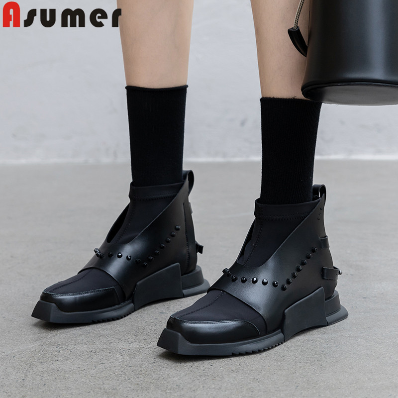 ASUMER 2020 new genuine leather boots mixed colors ladies ankle boots for women Internal elevation ladies prom boots