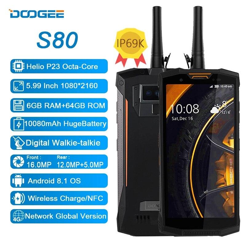 DOOGEE-teléfono inteligente S80, IP68/IP69K, 10080mAh, 6GB RAM, 64GB ROM, cámara de 16.0mp, pantalla FHD de 5,99 pulgadas, NFC, 4G, LTE