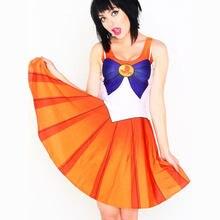 Vestidos de halloween cosply sailor moon vestido de verão acima do joelho sem mangas 9 cores vestido feminino mais szie 2xl 3xl vestido tamanhos grandes