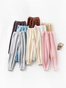 Pencil-Pants Thick-Trousers Drawstring Fleece High-Waist WOTWOY Winter Femme Women Cotton