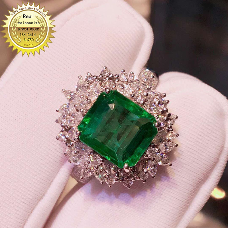 10K Gold Ring Lab Created 4ct Emerald And Moissanite Diamond Ring With National Certificate Em-0015