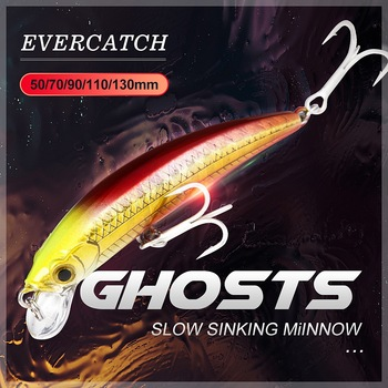 Evercatch ghosts sinking minnow rattling jerkbait fake fish artificial chatterbait for bass pike perch trout fishing tackle lure