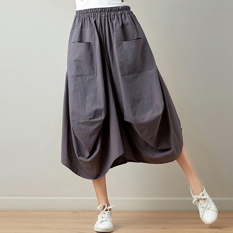 2019 Summer Wear WOMEN'S Dress New Style Literature And Art Retro Origional Cotton Linen Skirt Loose And Plus-sized Lantern Dres