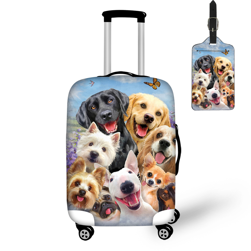 THIKIN Cute Pug Golden Retriever Labrador Dogs Print Travel Luggage Cover And Tag Protective Case Easy Convenient For Tourism