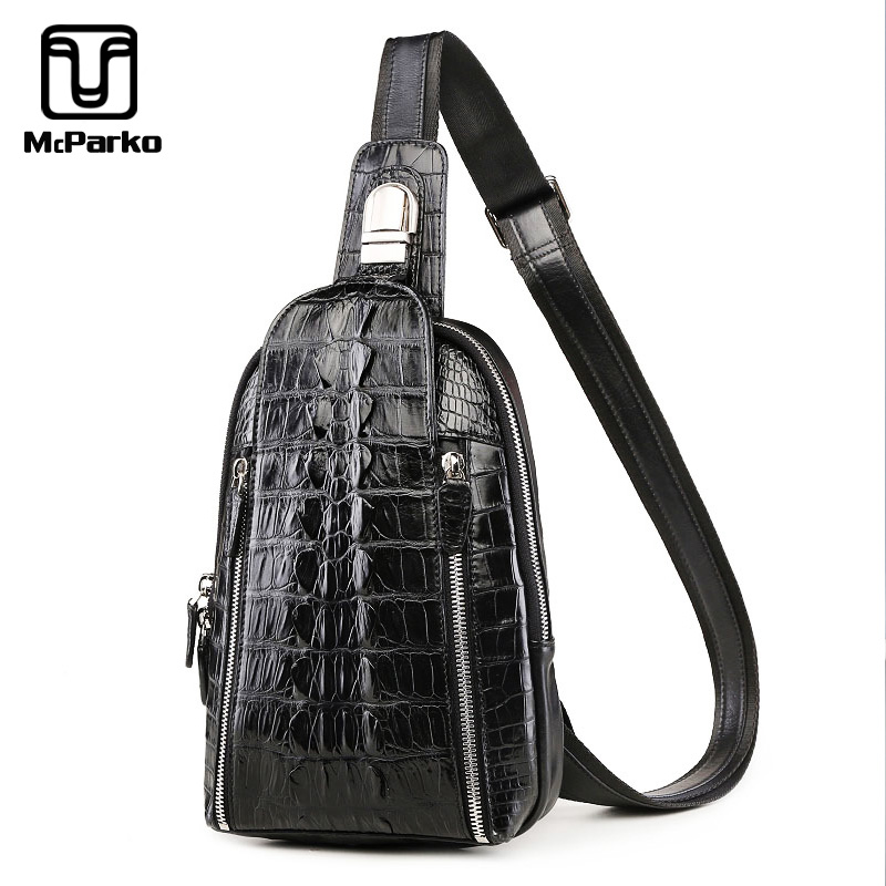 McParko Luxury Crocodile Chest Bag For Men Crossbody Bag Genuine Leather Chest bag Streetwear Crocodile Tail Leather Hip Hop Men's Gear