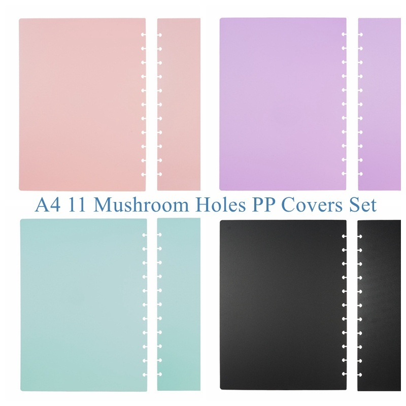 A4 11 Holes/Letter 11 Holes/A5 8 Holes/Junior 8 Holes PP Covers For DIY Discs Bound Notebook Diary Book Journal 5 Color Options