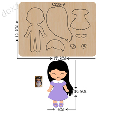 Matrices de découpe en bois pour filles Scrapbooking, compatibles avec la plupart des machines de découpe, nouvelle collection C 236 9