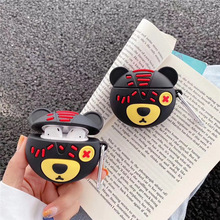 For AirPod 1 2 Case 3D Rogue Bear Cute Soft Silicone Wireless Earphone Cases For Apple Airpods Case Protect Cover Funda + Ring for airpods pro case 3d little bear cartoon soft silicone wireless earphone cases for apple airpod 3 case cute cover funda
