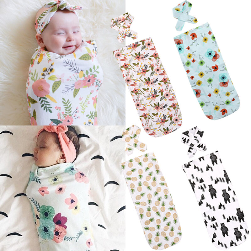Fashion Newborn Baby Swaddle Blanket Baby Sleeping Swaddle Muslin Wrap Headband 2Pcs/Set