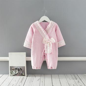 Kombinezony zimowe dla niemowląt dla dziewczynek kostiumy zimowe dla noworodków śpioszki dla niemowląt dla niemowląt kombinezon dla niemowląt odzież dla niemowląt różowy 0-2Y tanie i dobre opinie IDEA FISH COTTON CN (pochodzenie) Kobiet W wieku 0-6m 7-12m 13-24m Stałe Dla dzieci O-neck Przycisk zadaszone Pajacyki