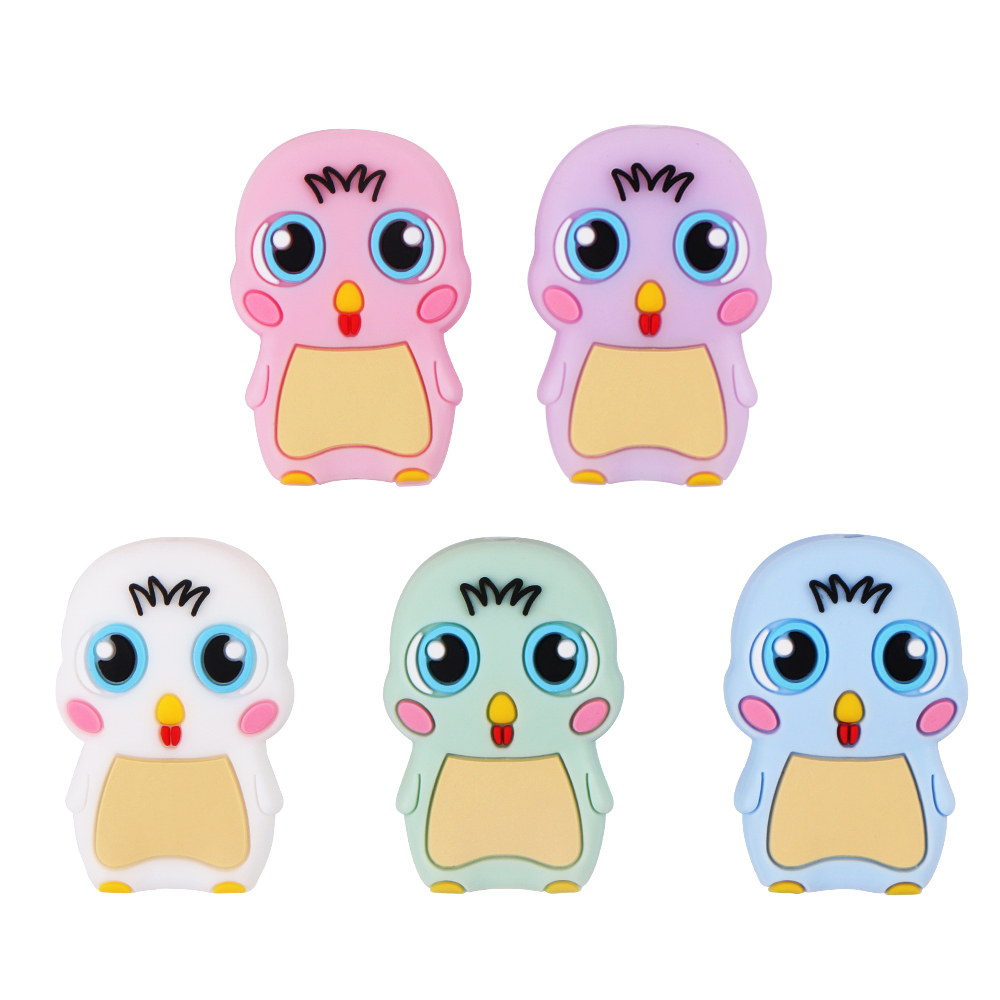 10pcs Chick Silicone Beads Food Grade Teether Baby Teething Beads BPA Free Baby Teething Necklace Toys Accessory