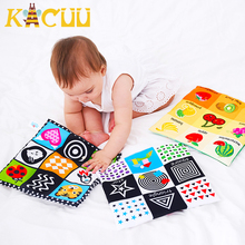 Cloth-Book 0-12-Months Soft for Newborn Kids Learning Educational Black/white Rustle