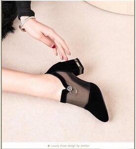 Image 4 - Szpilki Mesh oddychające Pomps Zip Pointed Toe grube obcasy moda damska sukienka buty eleganckie obuwie