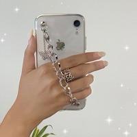Funda de teléfono con pulsera de cadena de mariposa coreana, funda trasera a prueba de golpes de TPU para Samsung Galaxy S20 Note 20 Plus S8 S9 S10 Plus A51 A71
