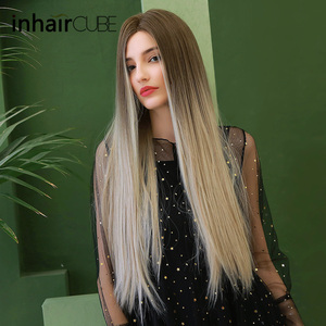Image 5 - Inhaircube Middle Part Synthetic Wigs For Women Dark Brown Root Long Straight Heat Resistant Cosplay Daily Wig Adjustable Straps