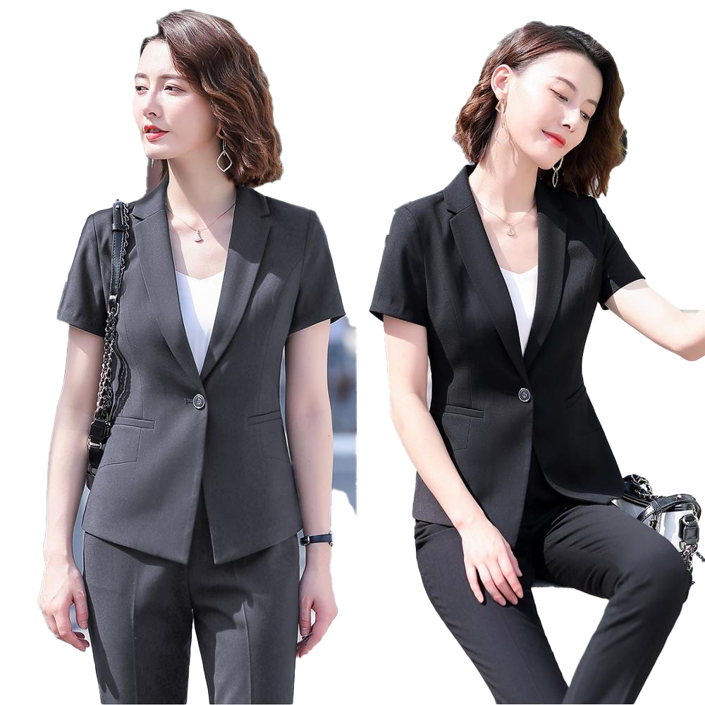 Female Elegant Formal Office Work Wear Summer Black Blazer Women Business Pant And Jacket Suits Set Ladies Clothes Short Sleeve