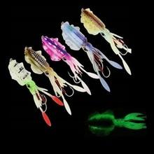 1Pcs 20G/60G Squid Glow Fishing Soft Lure With Lead Jigging Hook Sea Fishing Boat Fishing Squid Calamar Octopus Baits
