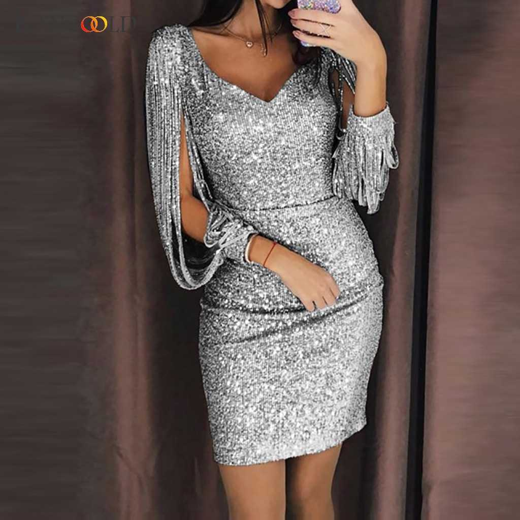 KANCOOLD2019 Elegant Women's Sexy Solid Sequins Splicing Shiny Club Sheath Sparkling Sequins Long Sleeve Mini Dress