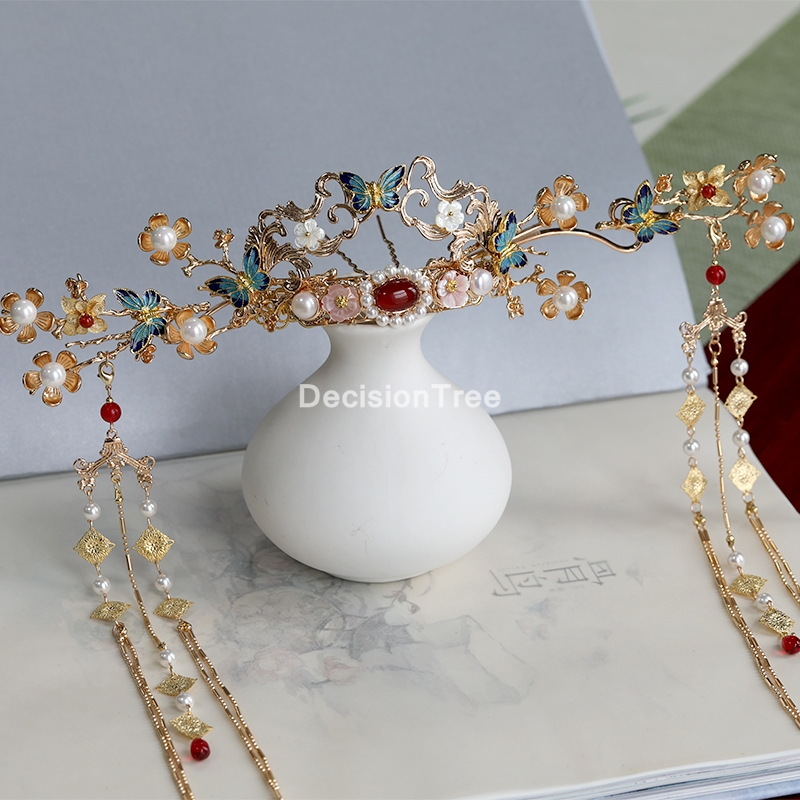 2021 blue butterfly bridal phoenix crown headdress costume hairpin classical wedding chinese traditional coronet hair jewelry
