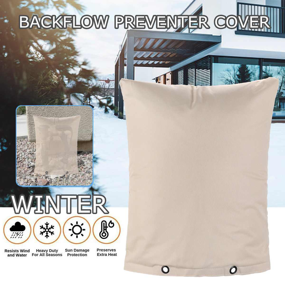 Hot Water Sprinkler Valve Box Outdoor Backflow Preventer Insulation Cover For Winter Pipe Freeze Protection Waterproof Pouch