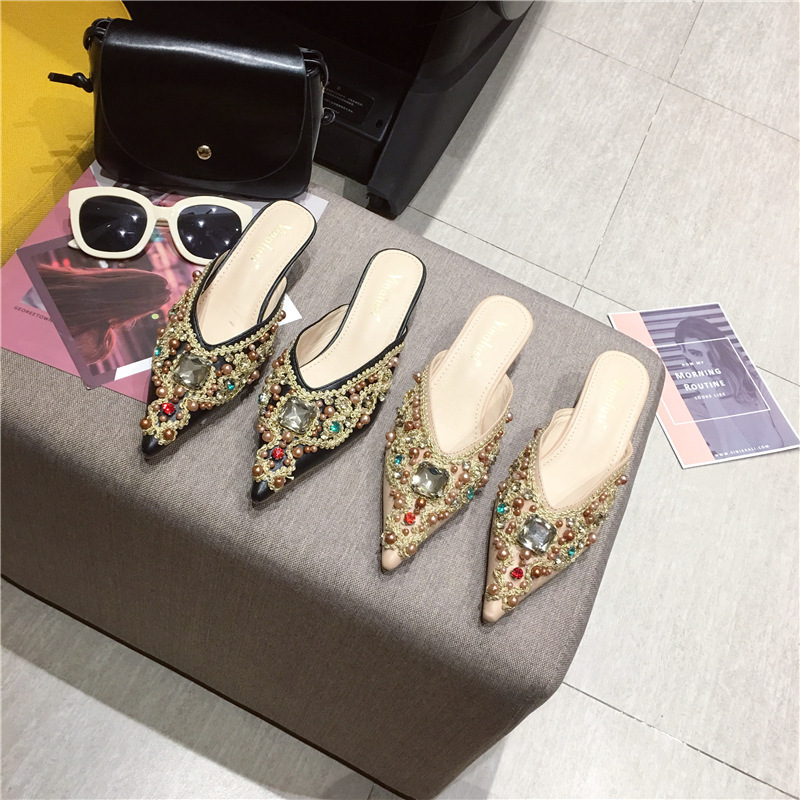 Women Slippers Crystal Slip-On Pointed Toe Thin Heels Loafers Ladies Sandals Comfort Pumps Outside Slippers Middle Heels Sandals