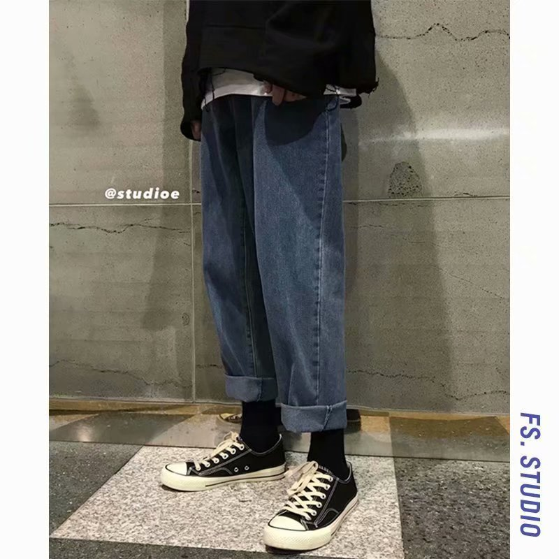 Spring And Summer New Style Washing Vintage Jeans Men's Hong Kong Style CHIC Loose-Fit Pendant Sense Wide-Leg Straight-leg Pants