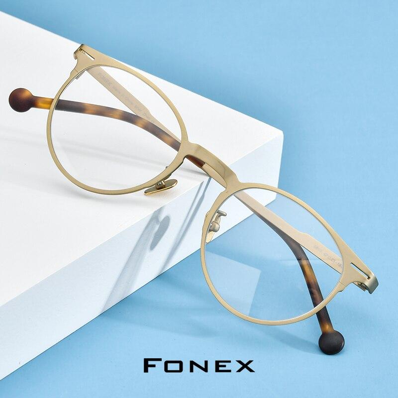 FONEX Pure Titanium Prescription Glasses Retro Round Eyeglasses Frame Men Optical Myopia Eyewear Eye Glass For Women Korean 8510