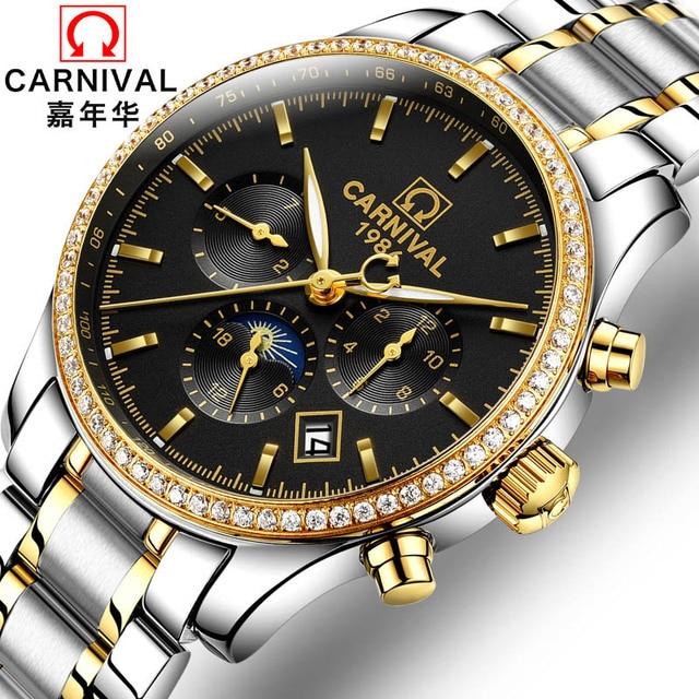 CARNIVAL Men's Watches 2019 Top luxury All steel Automatic Mechanical Waterproof Multifunction Business Watch Relogio Masculino   Fotoflaco.net